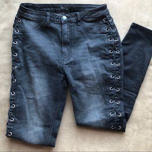 Black Wash Lace Up Denim Jean